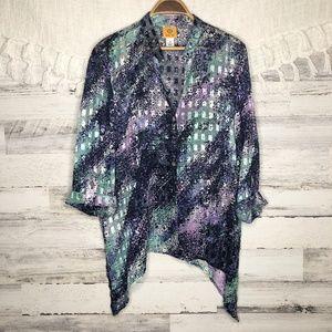 Ruby Rd. button down Asymmetrical colorful blouse